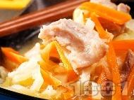 Супа / чорба от свинско месо от шол или плешка, прясно зеле, моркови и соев сос